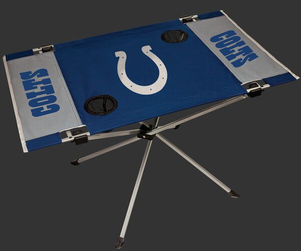 Rawlings Blue and Grey NFL Indianapolis Colts Endzone Table With Two Cup Holders, Team Logo, and Team Name SKU #03391070111