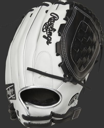 RLA120-3BP 12-inch Liberty Advanced infield/pitcher's Basket web glove with a white back and platinum binding/welting