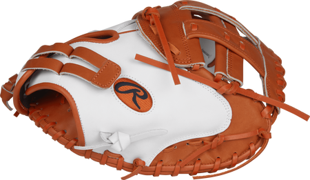 Thumb view of a white RLACM33FPWO Liberty Advanced color series 33-inch catcher's mitt with orange trim and Modified H web