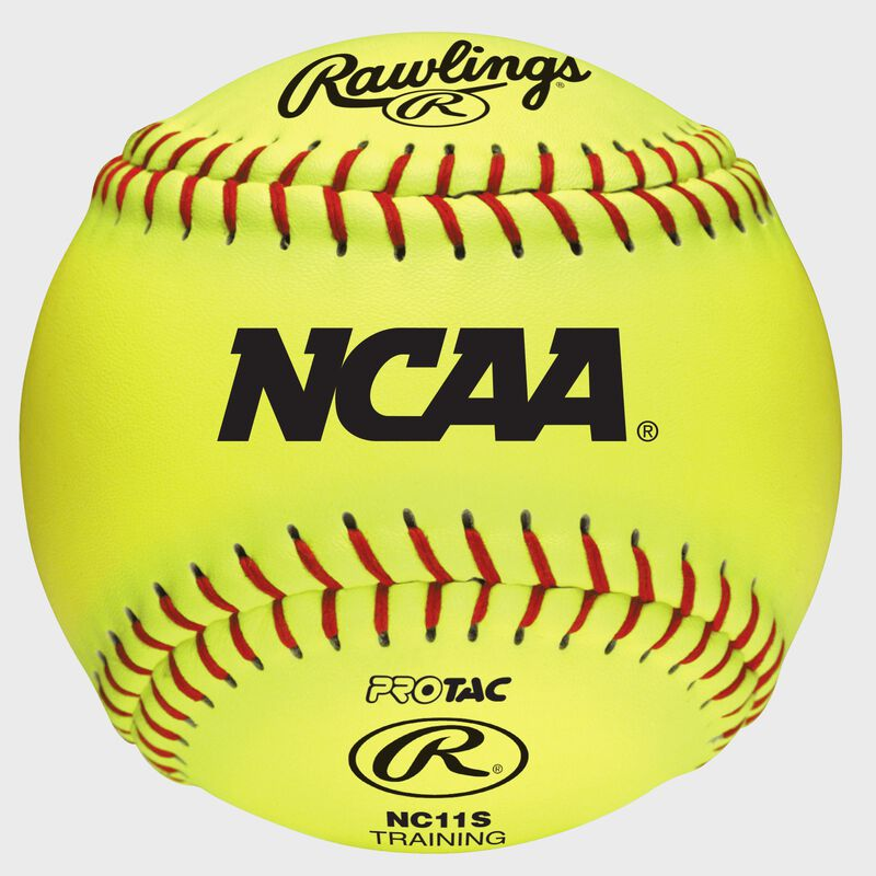 """A yellow NC11S NCAA 11"""" youth training softball with the NCAA logo and red stitching"""