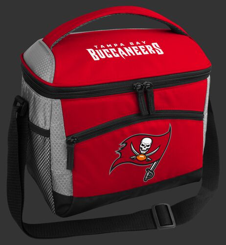 A red Tampa Bay Buccaneers 12 can soft sided cooler with a team logo on the front - SKU: 10111086111
