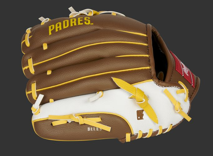 Back of a brown/white San Diego Padres 10-inch youth glove with the MLB logo on the pinky - SKU: 22000019111