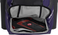 A purple Rawlings baseball backpack with a cleat in the bottom cleat storage compartment - SKU: IMPLSE-PU image number null