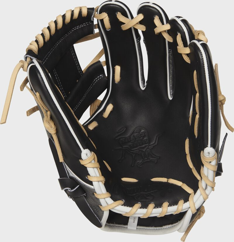 Palm view of a PRO204-2BCF 11.5-inch Heart of the Hide Hyper Shell I web glove with a black palm and camel laces