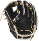Palm view of a PRO204-2BCF 11.5-inch Heart of the Hide Hyper Shell I web glove with a black palm and camel laces image number null
