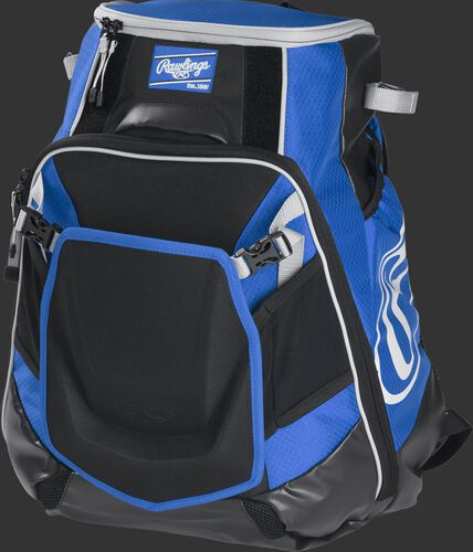Front left of a royal VELOBK Rawlings Velo equipment backpack with an Oval R logo on the side compartment