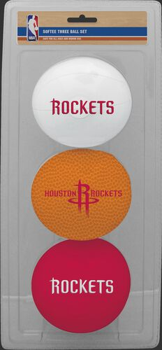 Rawlings White, Brown, and Red NBA Houston Rockets Three-Point Softee Basketball Set With Team Logo SKU #03524209114