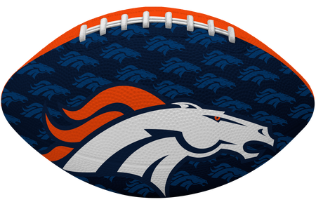 Navy blue side of a NFL Denver Broncos Gridiron football with the team logo