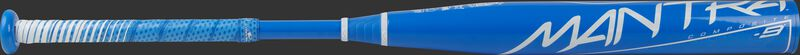 A light blue Rawlings Mantra fastpitch bat with a white Mantra logo on the barrel - SKU: FP1M9