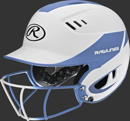 A white/columbia blue R16H2FGS Velo junior batting helmet with a white/columbia blue facemask