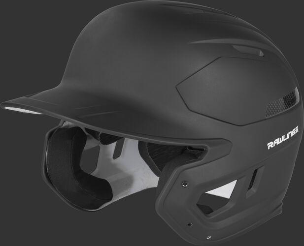 Left angle view of a matte CAR07A MACH Carbon high school/college baseball helmet