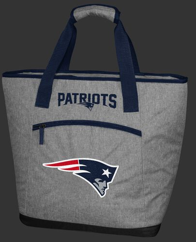 A gray New England Patriots 30 can tote cooler with an embroidered team logo on the front - SKU: 10311076111