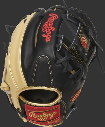 Black/camel back of a 2021 ContoUR fit HOH R2G I-web glove with a red Rawlings patch - SKU: PROR204U-2CB