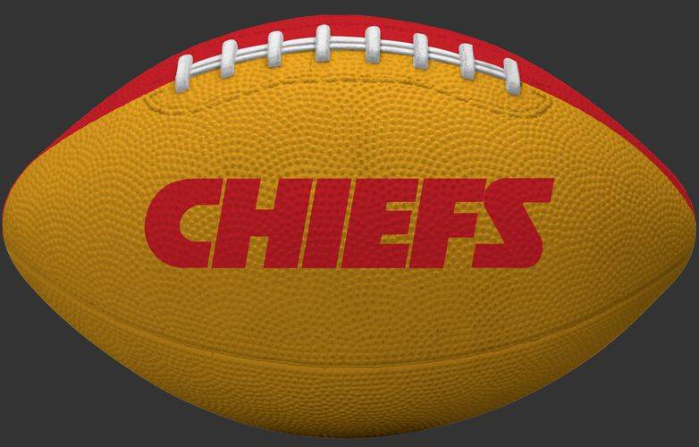 Yellow side of a Kansas City Chiefs Gridiron tailgate football with team name SKU #09501071122