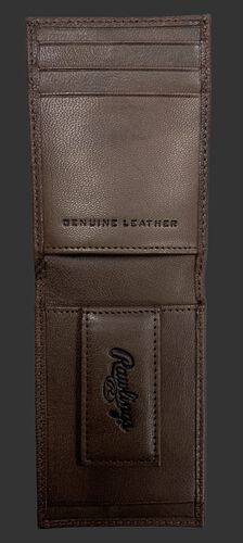 Inside of a brown debossed stitch front pocket wallet with a magnetic money clip on the bottom - SKU: RPW009-200