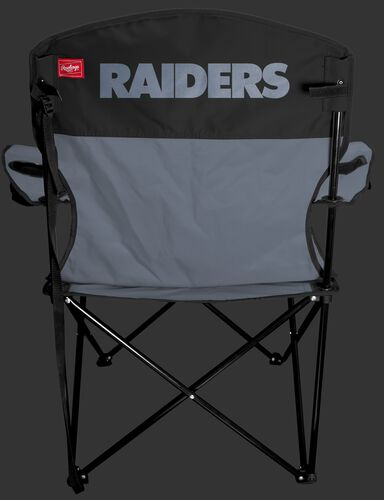 Back of Rawlings Silver and Black NFL Oakland Raiders Lineman Chair With Team Name SKU #31021072111
