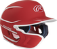 Right angle view of a matte scarlet/white MACHEXTR Mach Junior helmet with Mach EXT left hand batter face guard extension image number null