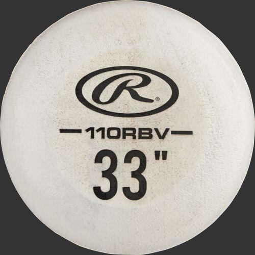 White knob of a 110RBV Rawlings Velo birch bat