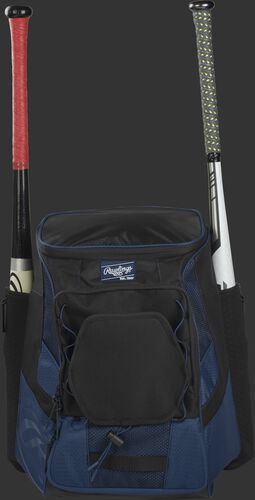 Front of a navy/black R600 Rawlings players team backpack with a bat in each of the side compartments