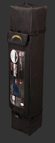 Black carry case of a 9x9 Los Angeles Chargers canopy with a team logo on the side compartment - SKU: 03231083113