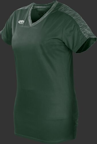 Front of Rawlings Dark Green Girl's Short Sleeve Launch Jersey - SKU #WLNCHJG-B-88