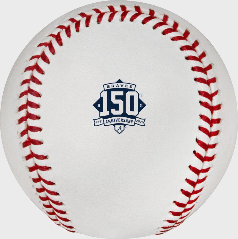 Atlanta Braves 150 year anniversary logo stamped on a MLB baseball - SKU: EA-ROMLBATL150-R