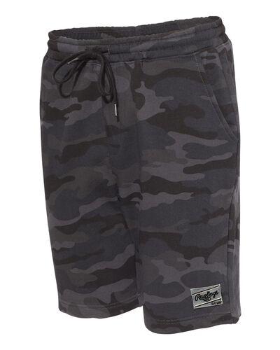 Side view of a black camo pair of Rawlings men's fleece shorts - SKU: RSGFS-B/HC