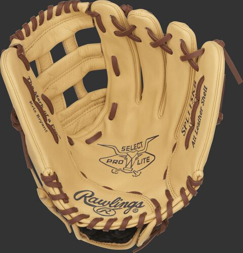 SPL115KB Rawlings Kris Bryant youth baseball glove with a camel palm and tan laces