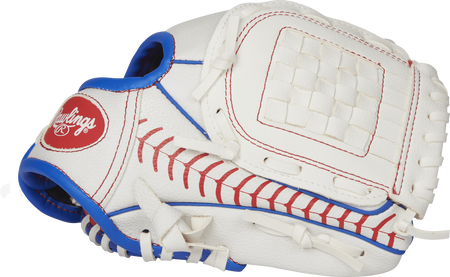 Thumb view of a white Players Series 9-inch tee ball glove with a stitching pattern across the thumb and a white Basket web