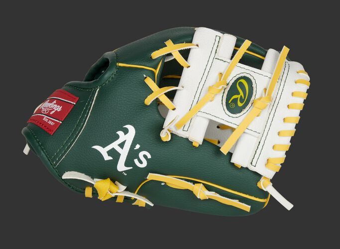 Thumb of a green/white Oakland Athletics 10-inch team logo glove with a white I-web - SKU: 22000003111