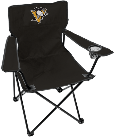 NHL Pittsburgh Penguins Gameday Elite quad chair with a mesh cup holder and team logo printed on the back