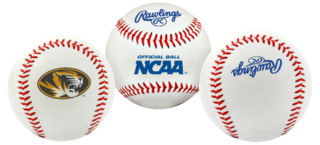 3 views of a NCAA Missouri Tigers baseball with a team logo, NCAA logo and Rawlings logo