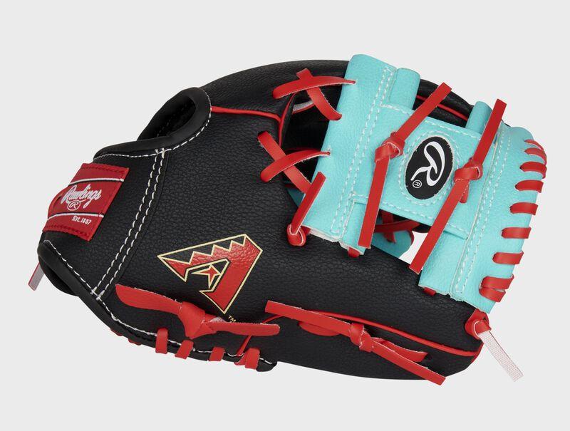 Thumb of a black/teal Arizona Diamondbacks 10-Inch team logo glove with a teal I-web and D-Backs logo on the thumb - SKU: 22000010111