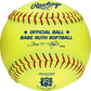 A yellow PX11RYLBR Babe Ruth official 11-inch softball with red stitching image number null