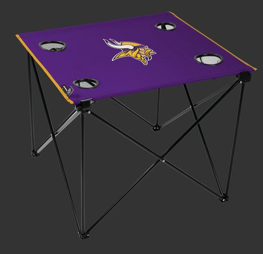 Rawlings Purple NFL Minnesota Vikings Deluxe Tailgate Table With Four Cup Holders and Team Logo Printed in the Middle SKU #00701075111