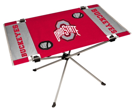 NCAA Ohio State Buckeyes Endzone table featuring team colors, a team logo and two cup holders