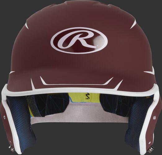 Front of a matte cardinal/white MACH Junior size batting helmet