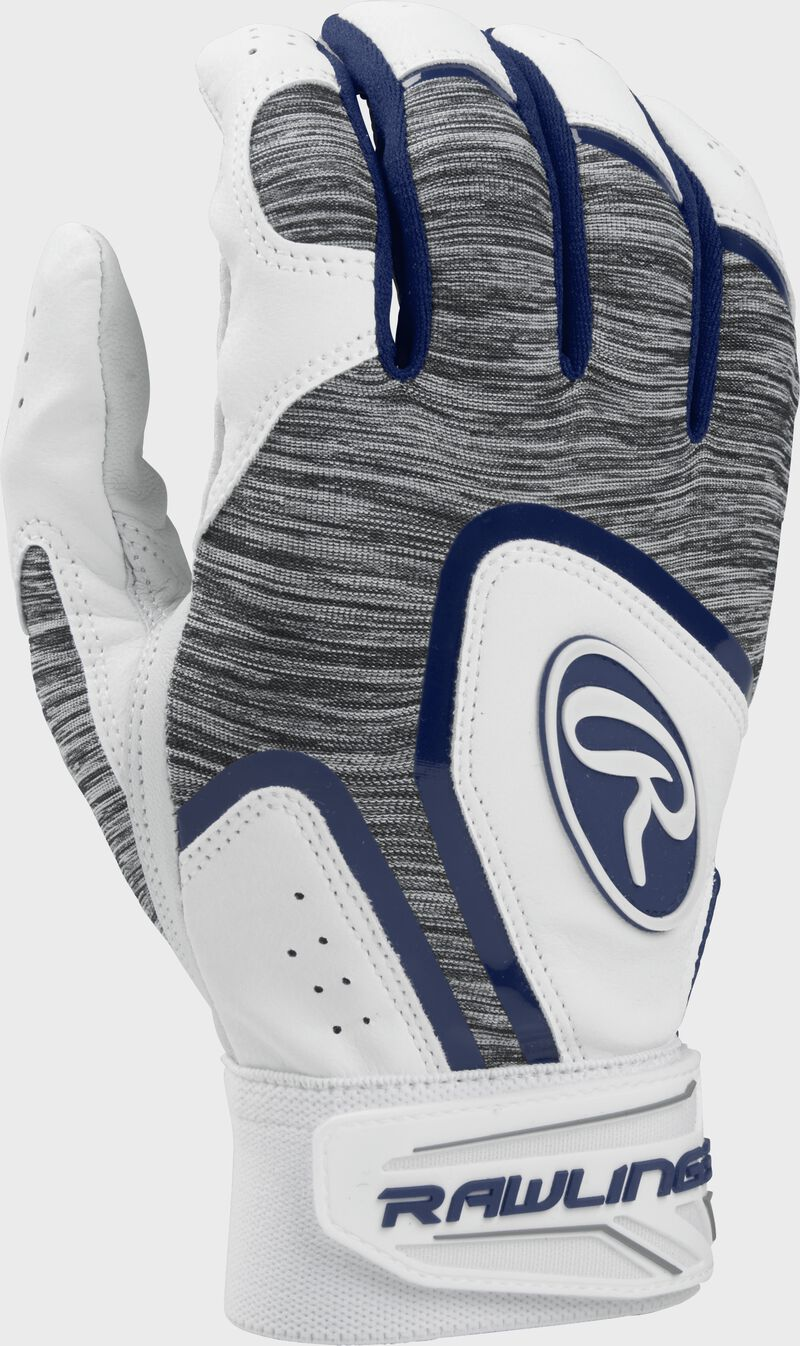 A white 5150WBG-N youth 5150 batting glove with a heather grey back and navy trim