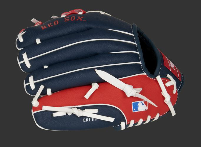 Back of a navy/red Boston Red Sox 10-inch youth glove with the MLB logo on the pinky - SKU: 22000024111