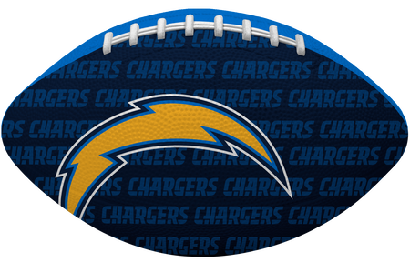 Navy blue side of a NFL Los Angeles Chargers Gridiron football with the team logo