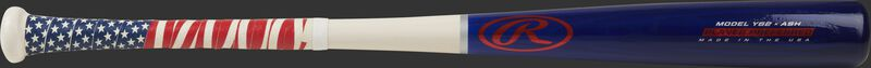 A 2021 Player Preferred youth ash wood bat with a navy barrel, white handle and stars and stripes grip tape - SKU: Y62AUS