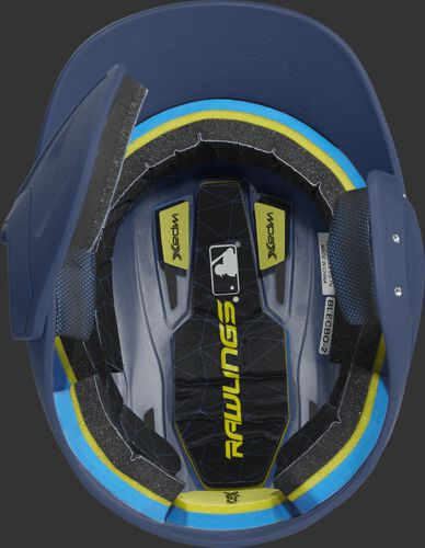 Inside of a MACHEXTL Rawlings MACH baseball helmet with IMPAX durable foam padding