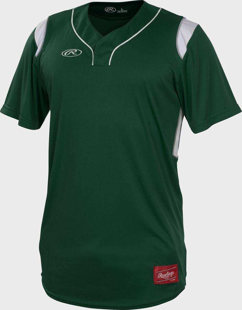 A dark green Rawlings short sleeve hidden button jersey with white shoulder inserts - SKU: HBJ-DG