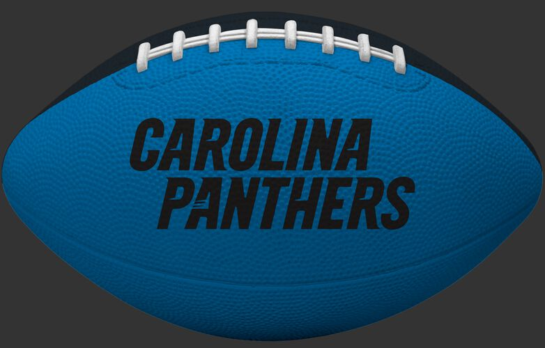 Blue side of a Carolina Panthers Gridiron tailgate football with team name SKU #09501090121