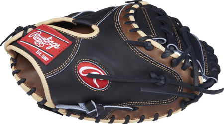 Thumb view of a PROCM33BSL Heart of the Hide 33-inch catcher's mitt with a black one-piece solid web