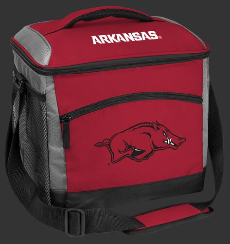 A red Arkansas Razorbacks 24 can soft sided cooler with screen printed team logos - SKU: 10223069111