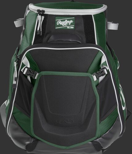 Front of a dark green VELOBK Velo backpack with dark green trim and a dark green Rawlings patch