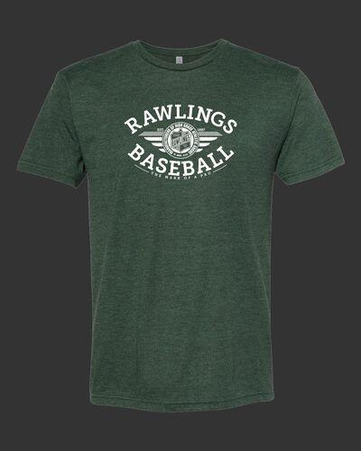 A dark green Rawlings baseballs tri-blend t-shirt - SKU: RSGBT-DG