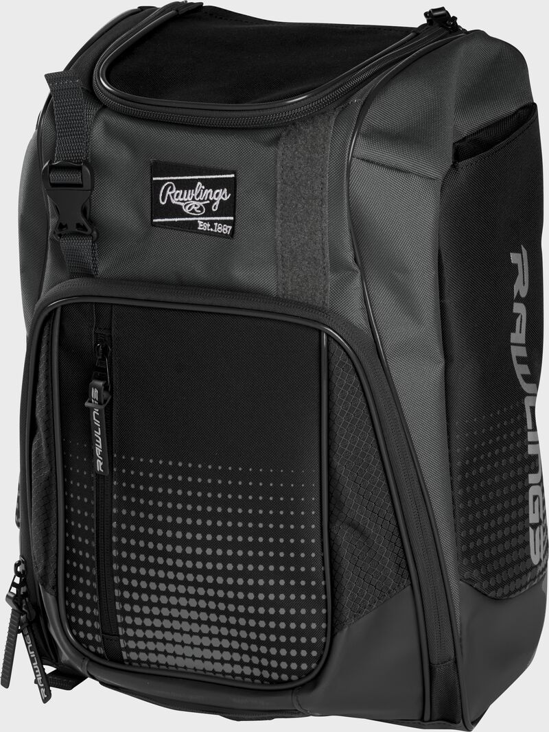 Front angle of a black Franchise backpack with gray accents and black Rawlings patch logo - SKU: FRANBP-B
