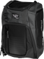 Front angle of a black Franchise backpack with gray accents and black Rawlings patch logo - SKU: FRANBP-B image number null